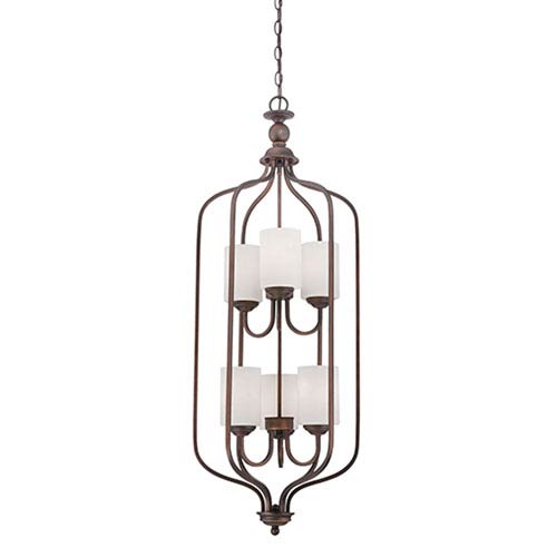 Millennium Lighting Lansing Rubbed Bronze 16-Inch Six-Light Pendant with Etched White Glass