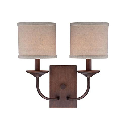 Jackson Rubbed Bronze 14.5-Inch Two-Light Wall Sconce with Beige Shade