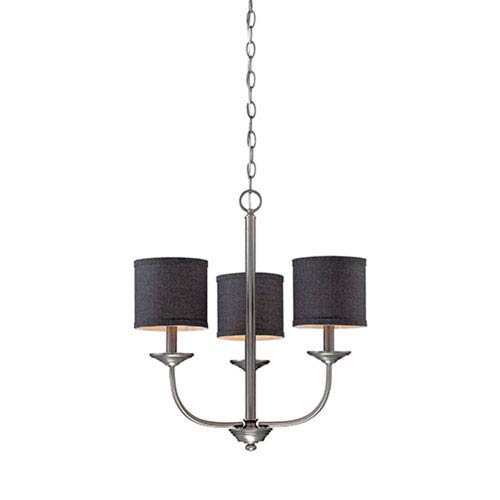 Millennium Lighting Jackson Brushed Pewter 21-Inch Three-Light Chandelier with Charcoal Shade