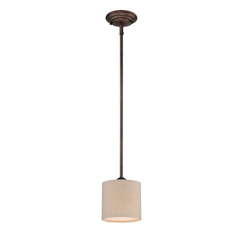 Jackson Rubbed Bronze 6-Inch One-Light Mini Pendant with Beige Shade
