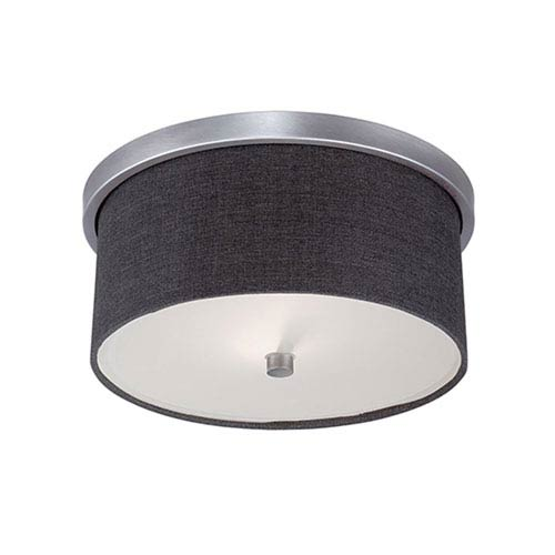 Jackson Brushed Pewter 13-Inch Two-Light Flush Mount with Charcoal Shade