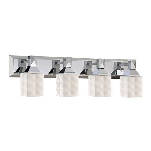 Chrome Four-Light Vanity with Etched White Diamond Glass