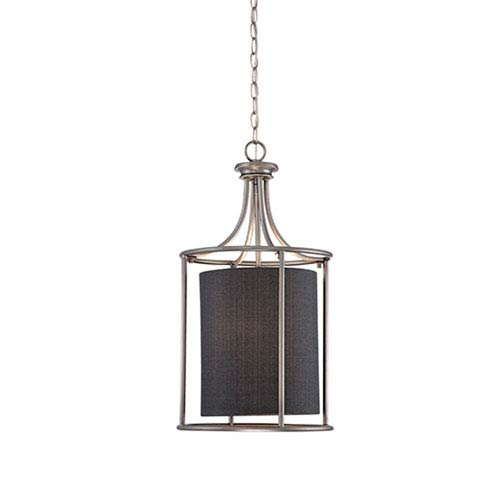 Jackson Brushed Pewter 14-Inch Two-Light Pendant with Charcoal Shade