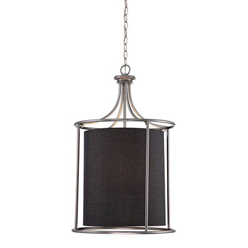 Millennium Lighting Jackson Brushed Pewter 20-Inch Three-Light Pendant with Charcoal Shade