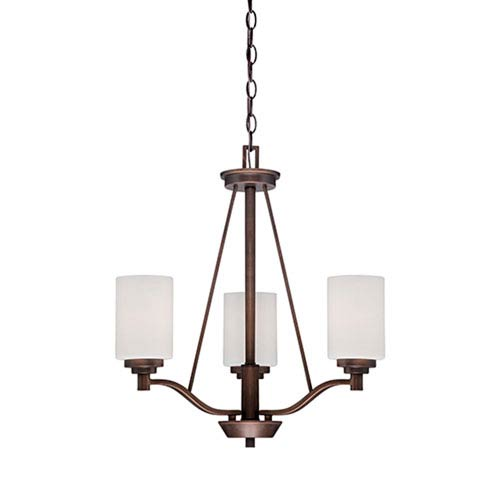 Millennium Lighting Durham Rubbed Bronze 20.5-Inch Three-Light Chandelier with Etched White Glass