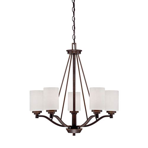 Millennium Lighting Durham Rubbed Bronze 25-Inch Five-Light Chandelier with Etched White Glass