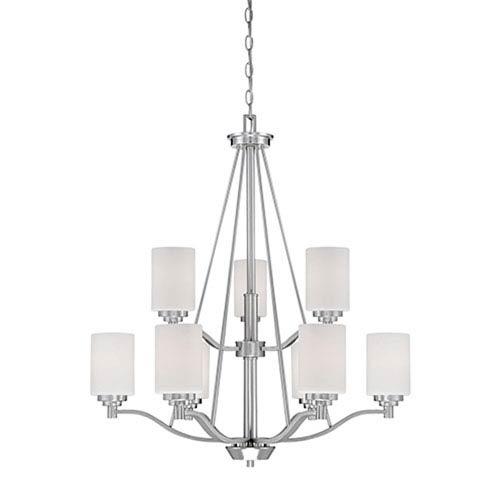 Millennium Lighting Durham Satin Nickel Nine-Light Chandelier with Etched White Glass