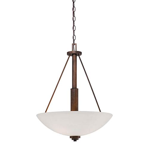 Durham Rubbed Bronze Three-Light Pendant with Etched White Glass