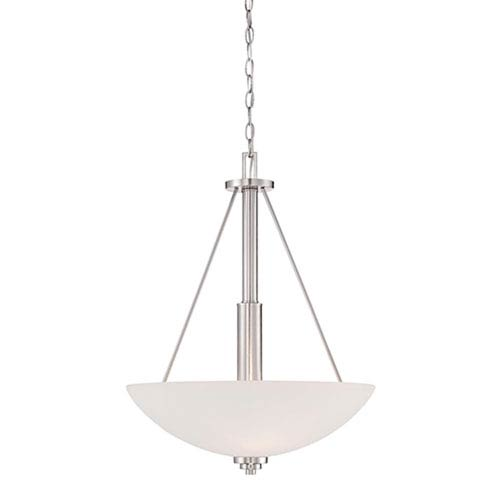 Durham Satin Nickel Three-Light Pendant with Etched White Glass