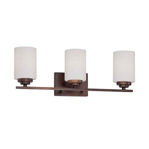 Millennium Lighting Durham Rubbed Bronze 22-Inch Three-Light Vanity with Etched White Glass