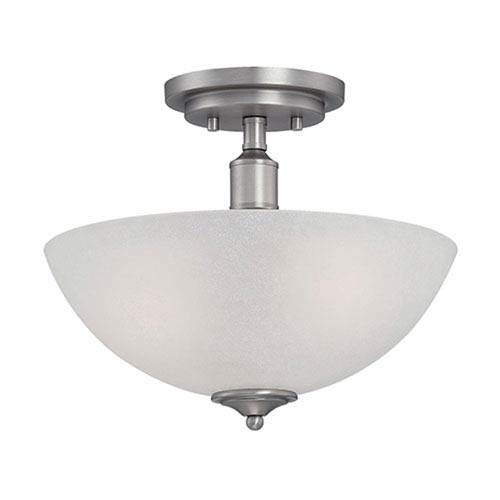 Millennium Lighting Franklin Brushed Pewter 12-Inch Two-Light Semi-Flush Mount with Light India Scavo Glass