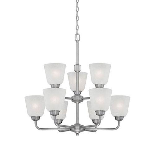 Millennium Lighting Franklin Brushed Pewter 26-Inch Nine-Light Chandelier with Light India Scavo Glass