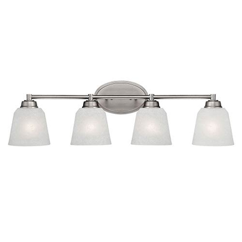 Franklin Brushed Pewter 31-Inch Four-Light Vanity with Light India Scavo Glass