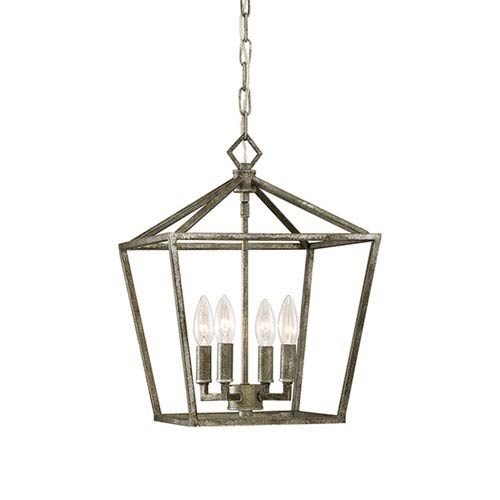 Antique Silver 12-Inch Four-Light Pendant