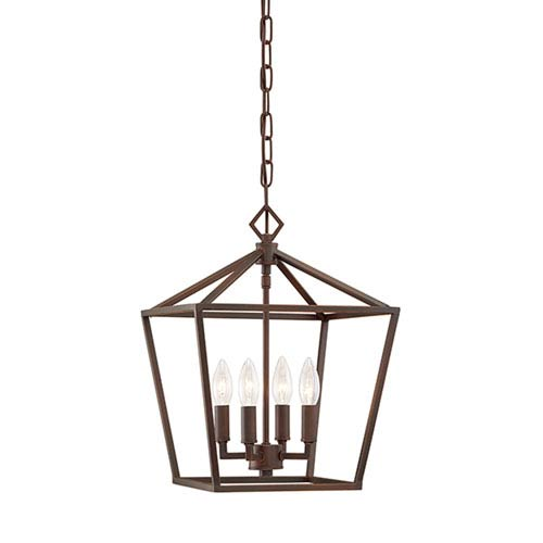Rubbed Bronze 12-Inch Four-Light Pendant