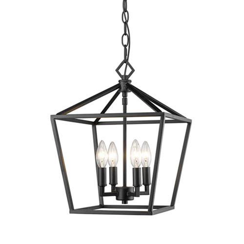 Millennium Lighting 3234-MB Corona Matte Black Four-Light Lantern Pendant