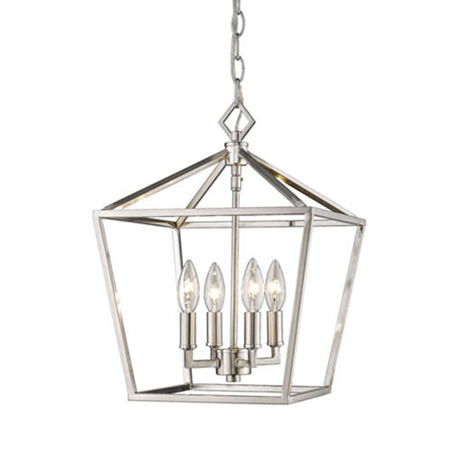 Corona Satin Nickel Four-Light Lantern Pendant