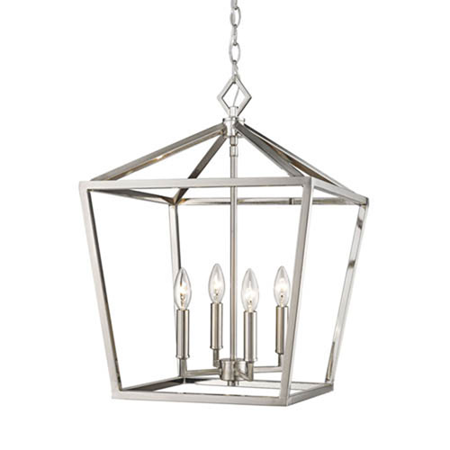 3244 Sn Corona Satin Nickel Four Light Lantern Pendant