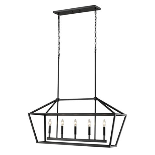 3245-MB Corona Matte Black Five-Light Lantern Pendant