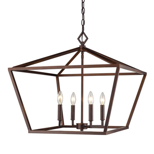3294-RBZ Corona Rubbed Bronze Four-Light Lantern Pendant