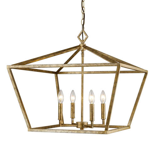 Charmant 3294 VG Corona Vintage Gold Four Light Lantern Pendant