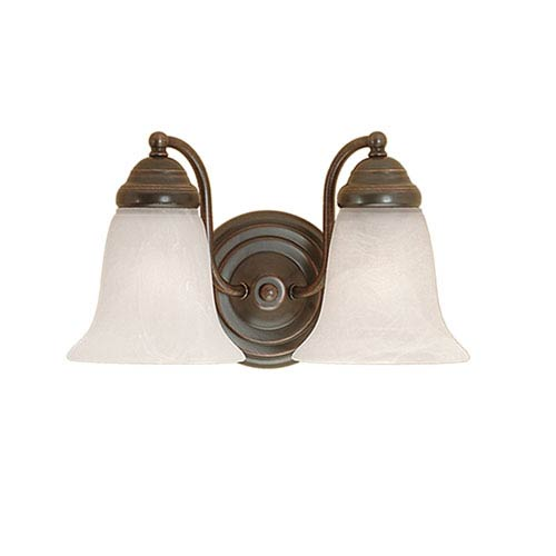 Millennium Lighting Colonial Bronze Two-Light Bath Light with Faux Alabaster Glass