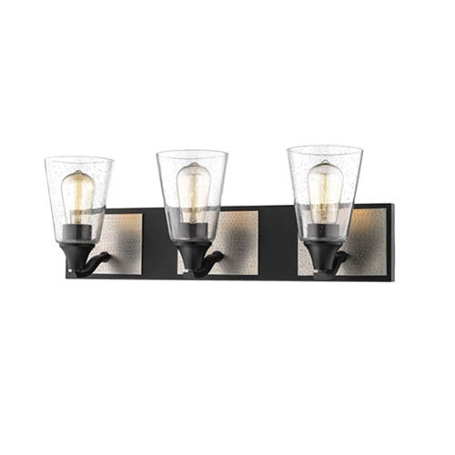 Matte Black and Brushed Pewter Three-Light Vanity with Clear Seeded Glass