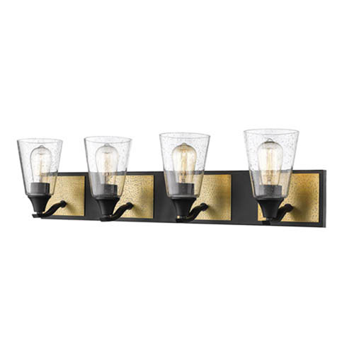Matte Black and Heirloom Bronze Four-Light Vanity with Clear Seeded Glass