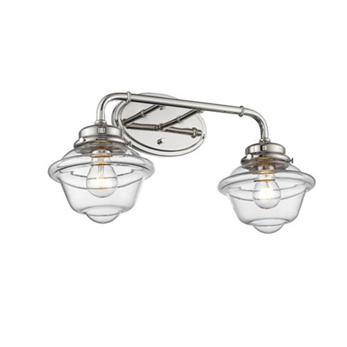 Millennium Lighting Neo-Industrial Polished Nickel TwNeo-Light Vanity with Clear Schoolhouse Glass