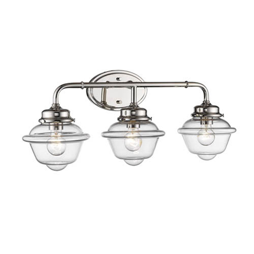 Neo-Industrial Polished Nickel Three-Light Vanity with Clear Schoolhouse Glass