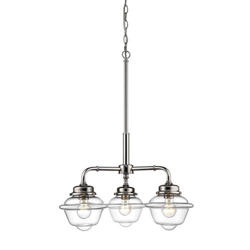 Neo-Industrial Polished Nickel Three-Light Chandelier with Clear Schoolhouse Glass