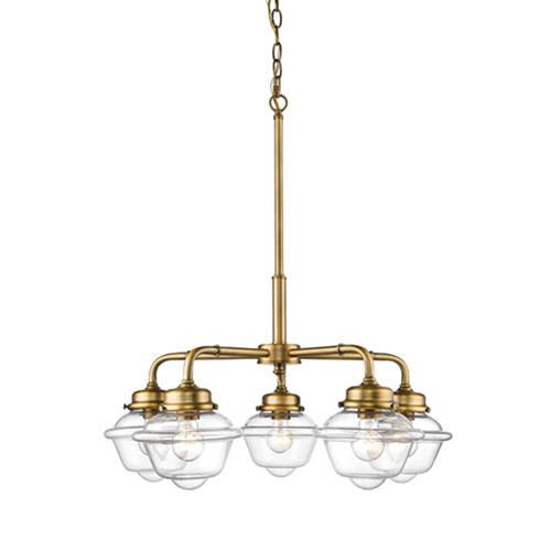 Millennium Lighting Neo-Industrial Heirloom Bronze Five-Light Chandelier with Clear Schoolhouse Glass