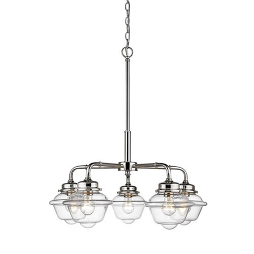 Neo-Industrial Polished Nickel Five-Light Chandelier with Clear Schoolhouse Glass