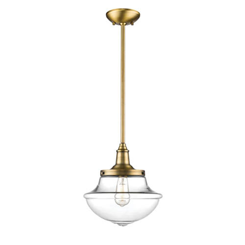Millennium Lighting Neo-Industrial Heirloom Bronze One-Light Pendant with Clear Schoolhouse Glass