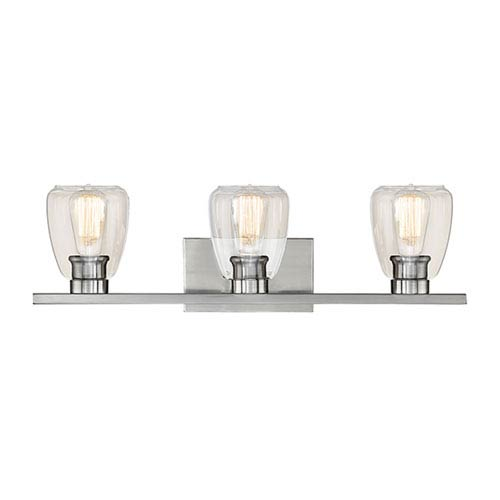 Satin Nickel Three-Light Vanity with Clear Glass