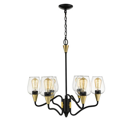 Millennium Lighting Norwalk Matte Black and Gold Six-Light Chandelier with Clear Glass