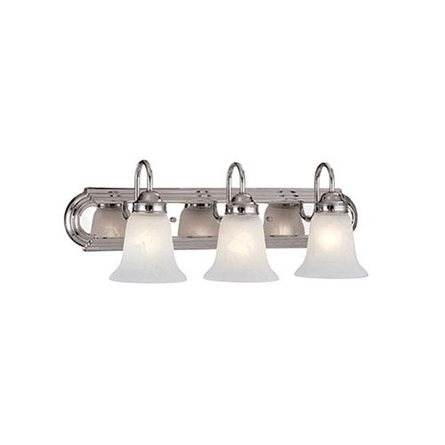 Millennium Lighting Chrome Three Light Bath With Faux Alabaster Gl
