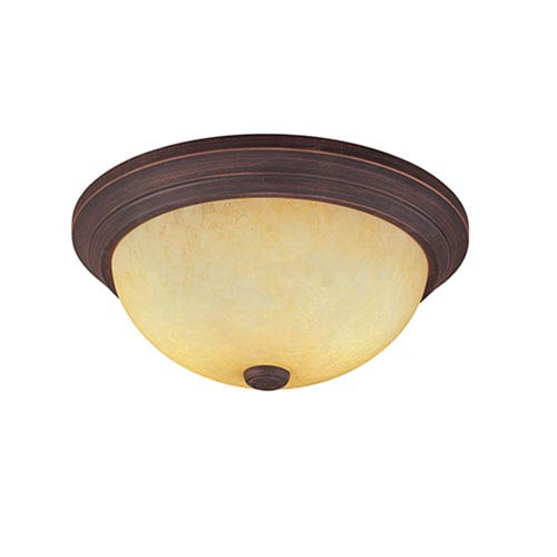 Millennium Lighting Rubbed Bronze Two-Light Flush Mount with Turinian Scavo Glass