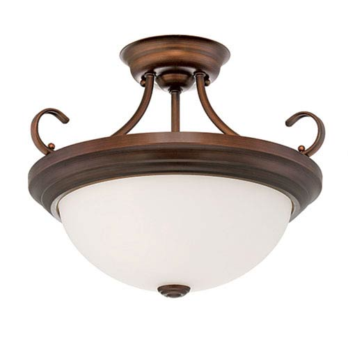 Millennium Lighting Rubbed Bronze 12 x 15-Inch Two Light Semi-Flush Fixture with Etched White Glass