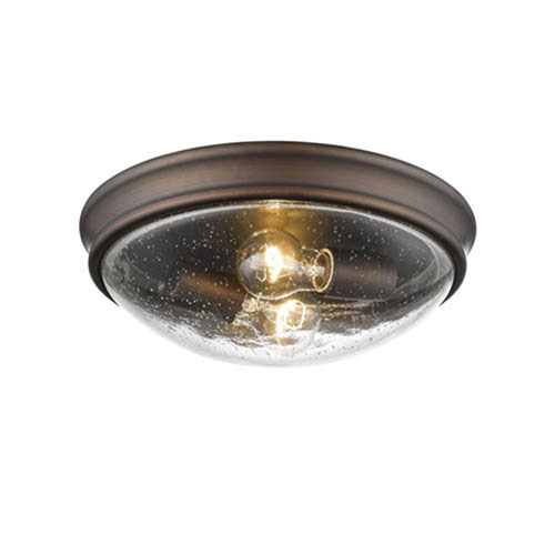 Rubbed Bronze Two-Light Flush Mount with Clear Seeded Glass