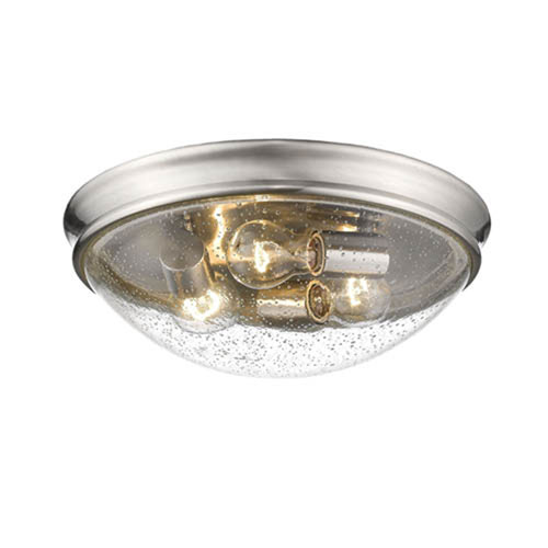 Brushed Nickel Three-Light Flush Mount with Clear Seeded Glass