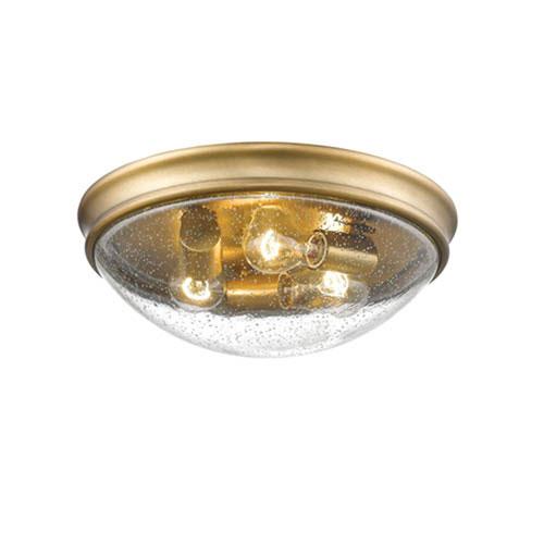 Millennium Lighting Heirloom Bronze Three-Light Flush Mount with Clear Seeded Glass
