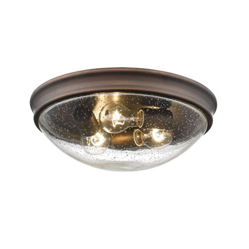 Rubbed Bronze Three-Light Flush Mount with Clear Seeded Glass