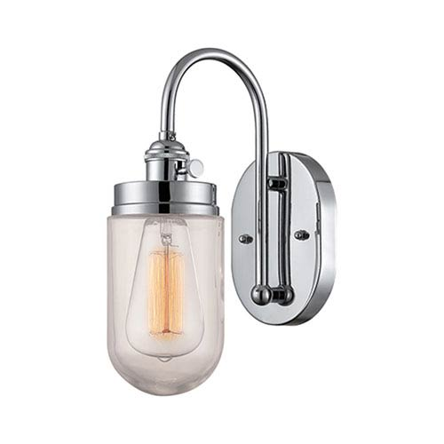 Millennium Lighting Neo-Industrial Chrome One Light Sconce with RGCNR Glass