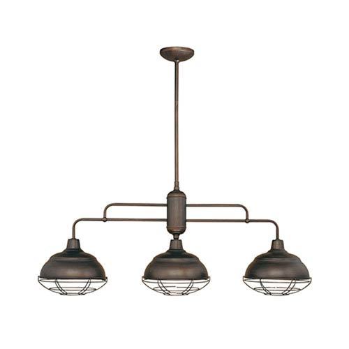 Neo-Industrial Rubbed Bronze Three-Light Island Pendant