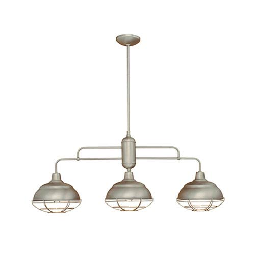 Neo-Industrial Satin Nickel Three-Light Island Pendant