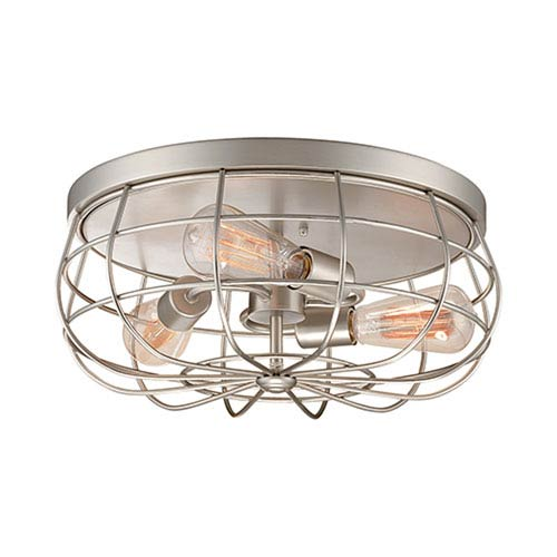 Neo-Industrial Satin Nickel 7 x 15.5-Inch Three Light Flush Mount Fixture