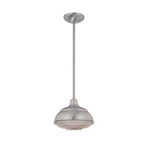 Neo-Industrial Satin Nickel One-Light Mini Pendant with Clear Crosscut Glass
