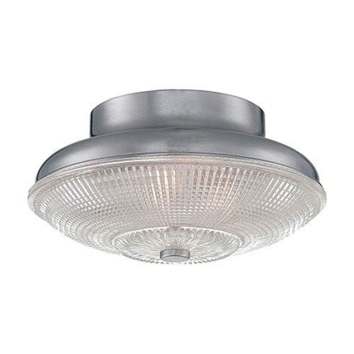 Millennium Lighting Brushed Nickel 10-Inch One-Light Flush Mount with Clear Crosscut Glass