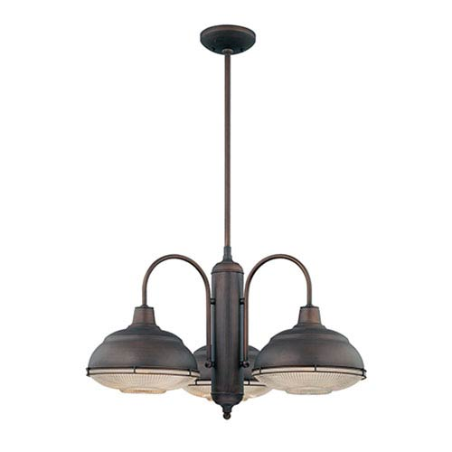 Millennium Lighting Neo-Industrial Rubbed Bronze Three-Light Chandelier with Clear Crosscut Glass